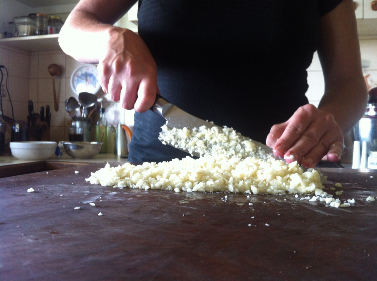 chopping garlic