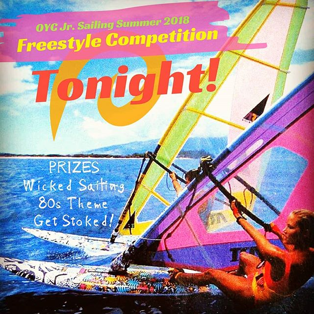 Tonight is the NIGHT! The sailors have practiced their routines, have their music, and are gonna' be dressed in full 80s garb @6pm tonight tune in here or on Facebook, to watch the OYC Freestyle Competition LIVE!!! ...No racing, just wicked boat handling, epic routines, and all the stoked for sailing we can fit in one evening. Be there or be ⏹️ #stoke #wicked #80s #sailing #saillife #oycistheplacetobe #oychighschoolsailing #oycraceteam #freestyle #shakah