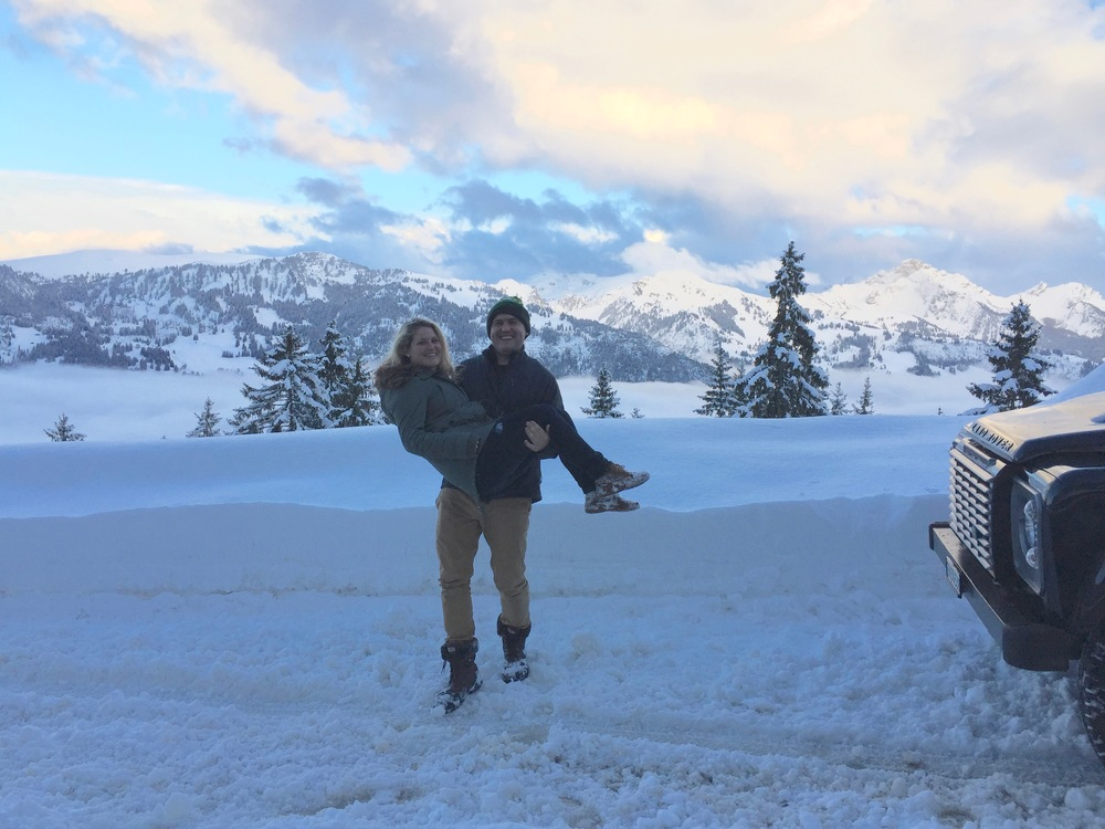 "- March 2016: Erin and Dan, just before Erin landed in the snow. At the Jaun Pass, Berner Oberland mountains behind, on the ""Dazzling Gruyère"" Tour"