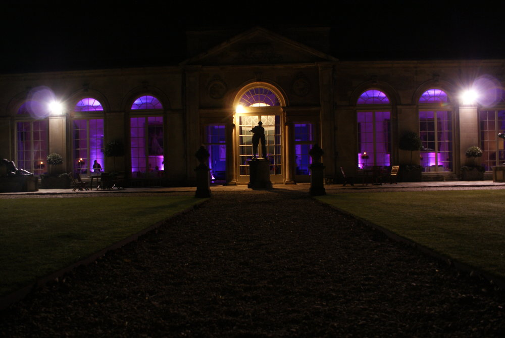 Sculpture Gallery outside view for wedding with uplighters