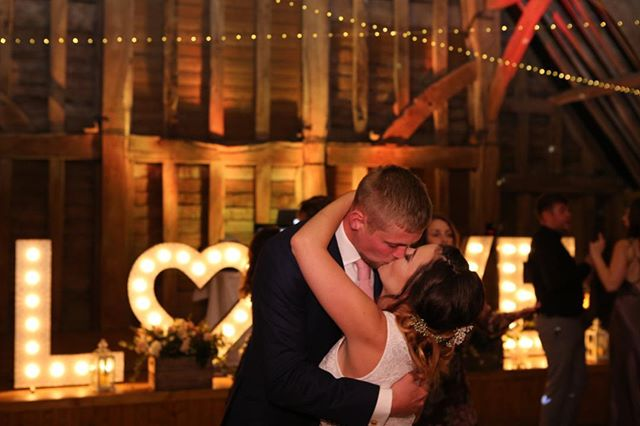 LOVE is in the air - the song, our amazing letters and of course The beutiful Priory Barn #phiaandfreddiewedding #djbluemark #loveletter #weddingfun #rusticwedding #dj #weddinglove #kissing #barnwedding