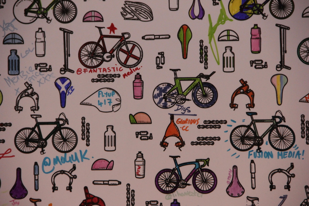 And finally, the Most Innovative Exhibitor has to go to Drops. This company manufacture wallpaper to colour in or buy, they also design exhibition spaces and had a hand in Bianchi's stand. They also sell cycling images and have recently launched their own women's road cycling team. Go team Drops!
