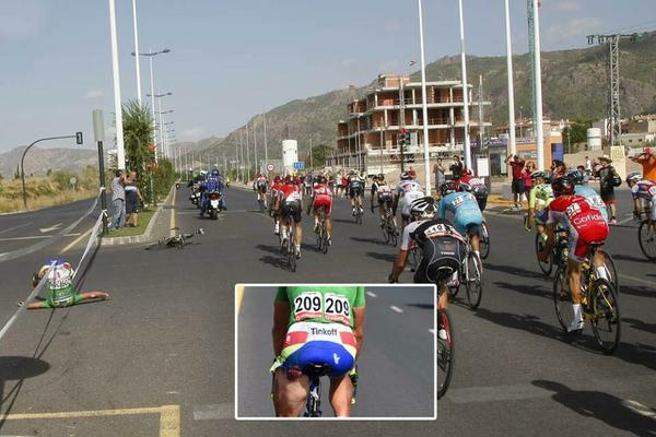 Sagan went on to finish the stage after his accident with a motorbike during La Vuelta de Espana