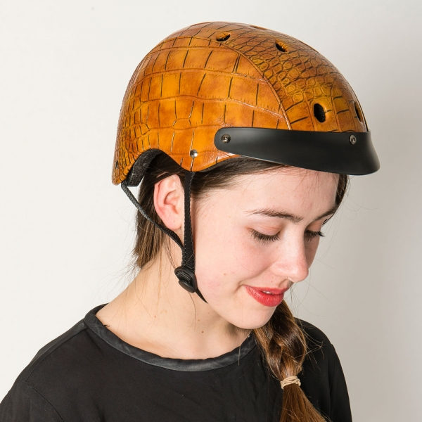 Make it snappy! The Sawako Furuno Ladies' moc-croc helmet in brown and black