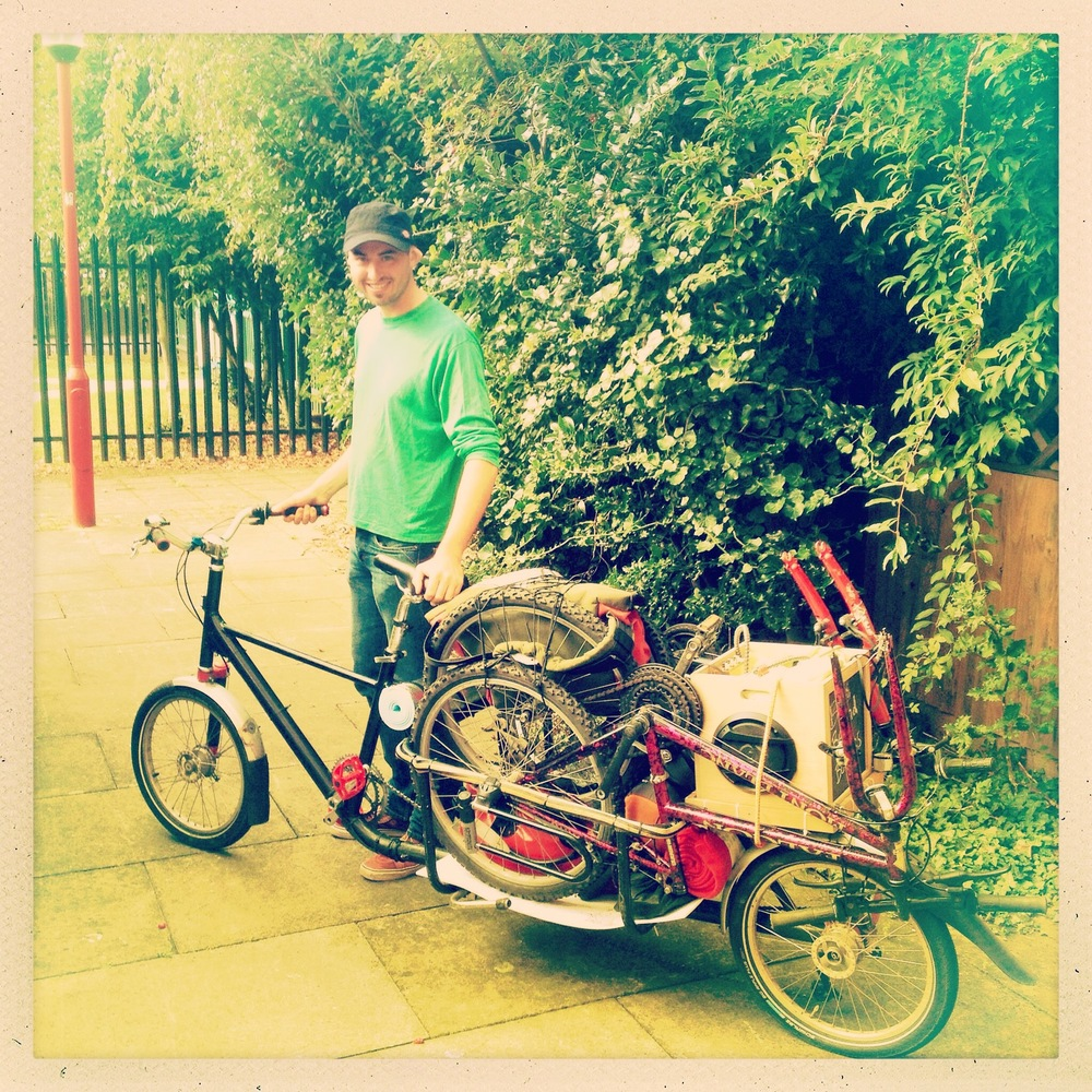 Dan Harris with the cargo bike he rode all the way from Norwich to Calais