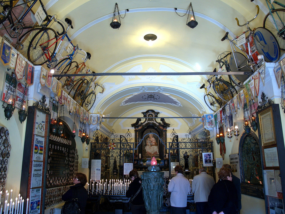 The Madonna del Ghisallo church combines with a cycling museum!  Image courtesy of http://olaszforum.blog.hu/2012/01/29/vallasi_hovatartozasa_kerekparos