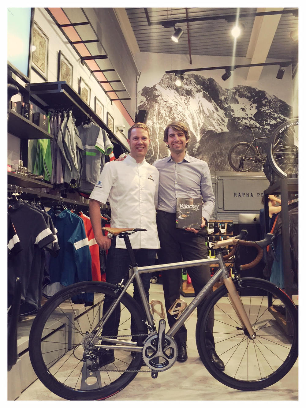 Henrik Orre with Passoni owner Matteo Cassina at the Rapha Store in London