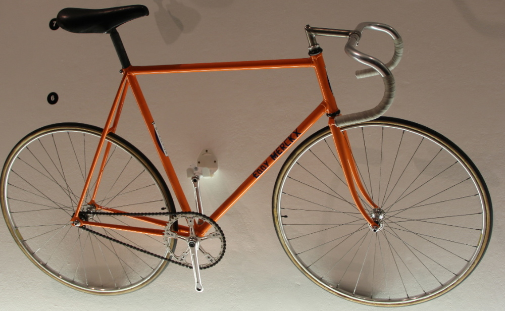The steel framed bike that Eddy Merckx broke the Hour record on in 1972 - currently on display at the Design Museum