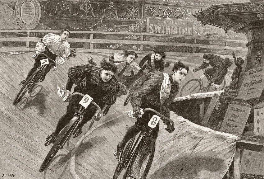 Six Day Women's Racing at the Aquarium in London 1896