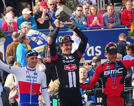 John Degenkolb - last year's winner of the Paris-Roubaix and La Primavera races, sadly unable to race this year after being smashed into by a 73 year old driving on the wrong side of the road, earlier this year
