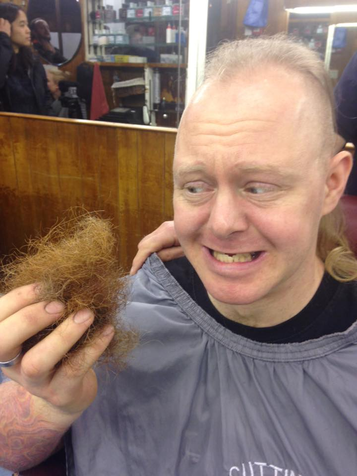Before and after reaching the magic £60,000 - and Jim goes through with his shaving promise!
