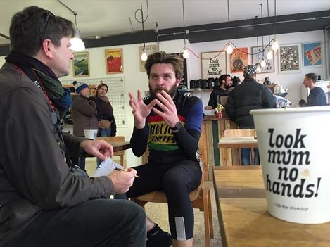 Robbie chats to Rob McCauliffe from Brixton Cycles Club in the new cafe