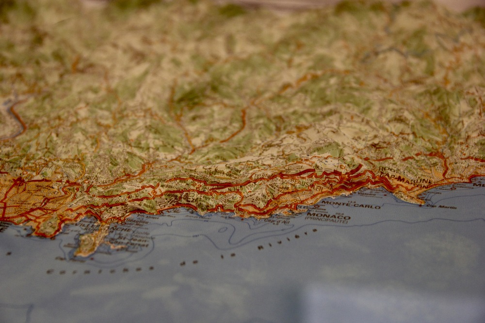 Rémi's 3D relief map of the Cote d'Azure which he uses to plot out his rides