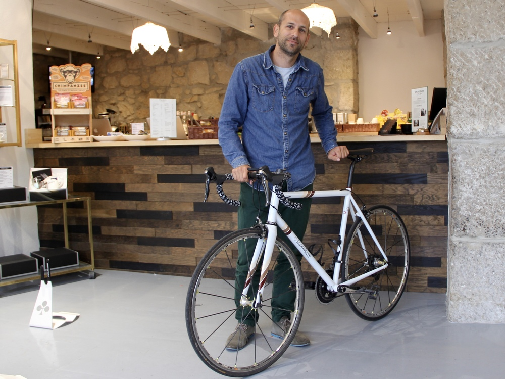 Rémi with his favourite bike du jour, handmade by a little-known frame builder in his Alsace hometown.