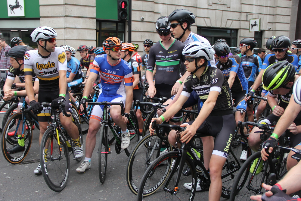 Competitors psyche each other up before the City Crit