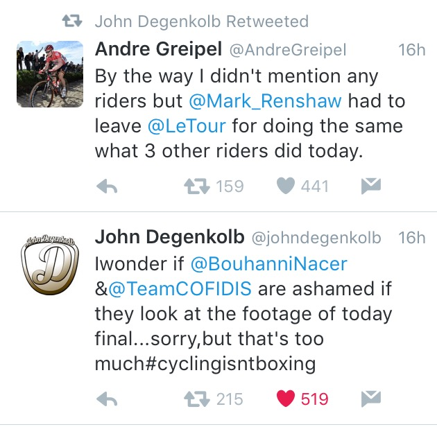 Riders John Degenkolb and Andre Greipel sound off on Twitter yesterday