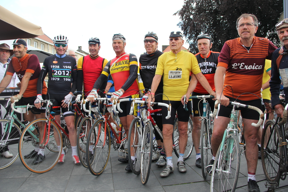 Local legends line up at the start with Eroica founder Giancarlo Brocci