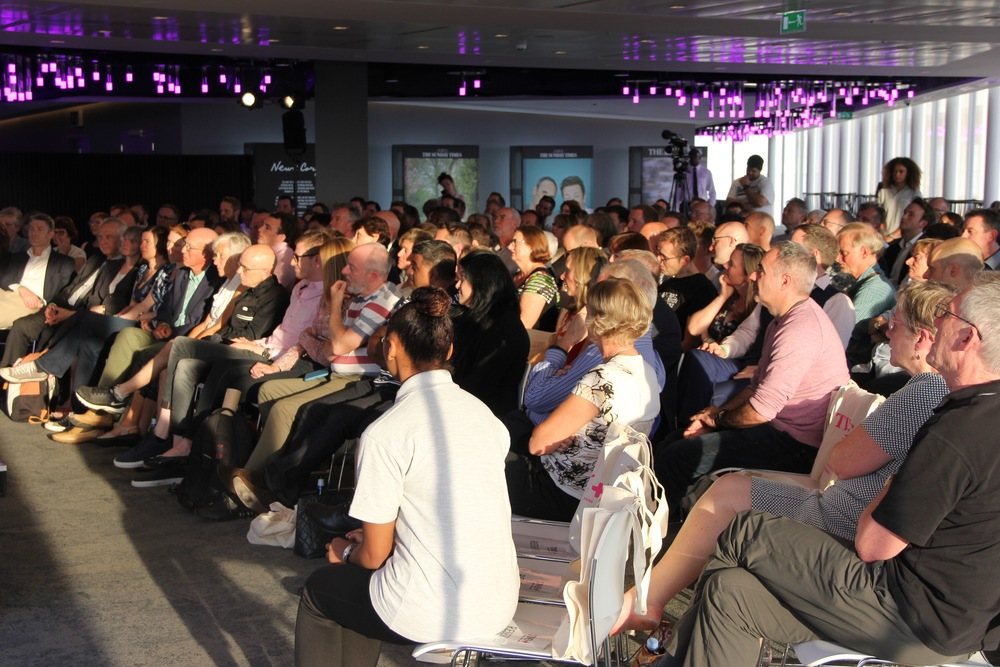 The audience of Times + members at the stunning News International building opposite The Shard