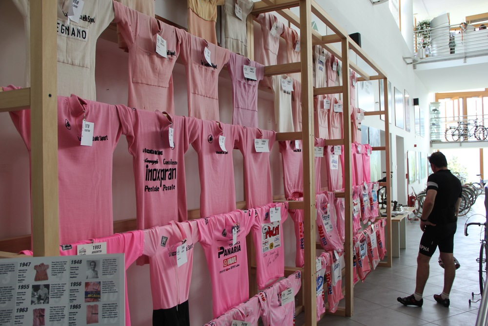 Admiring the Maglia Rosa collection