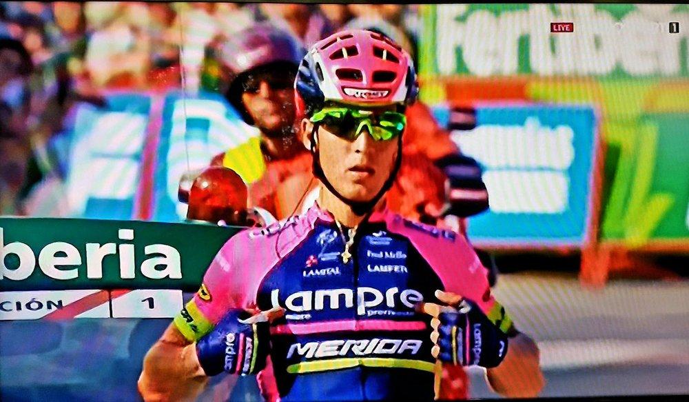 Valerio Conti celebrates the biggest win of his career