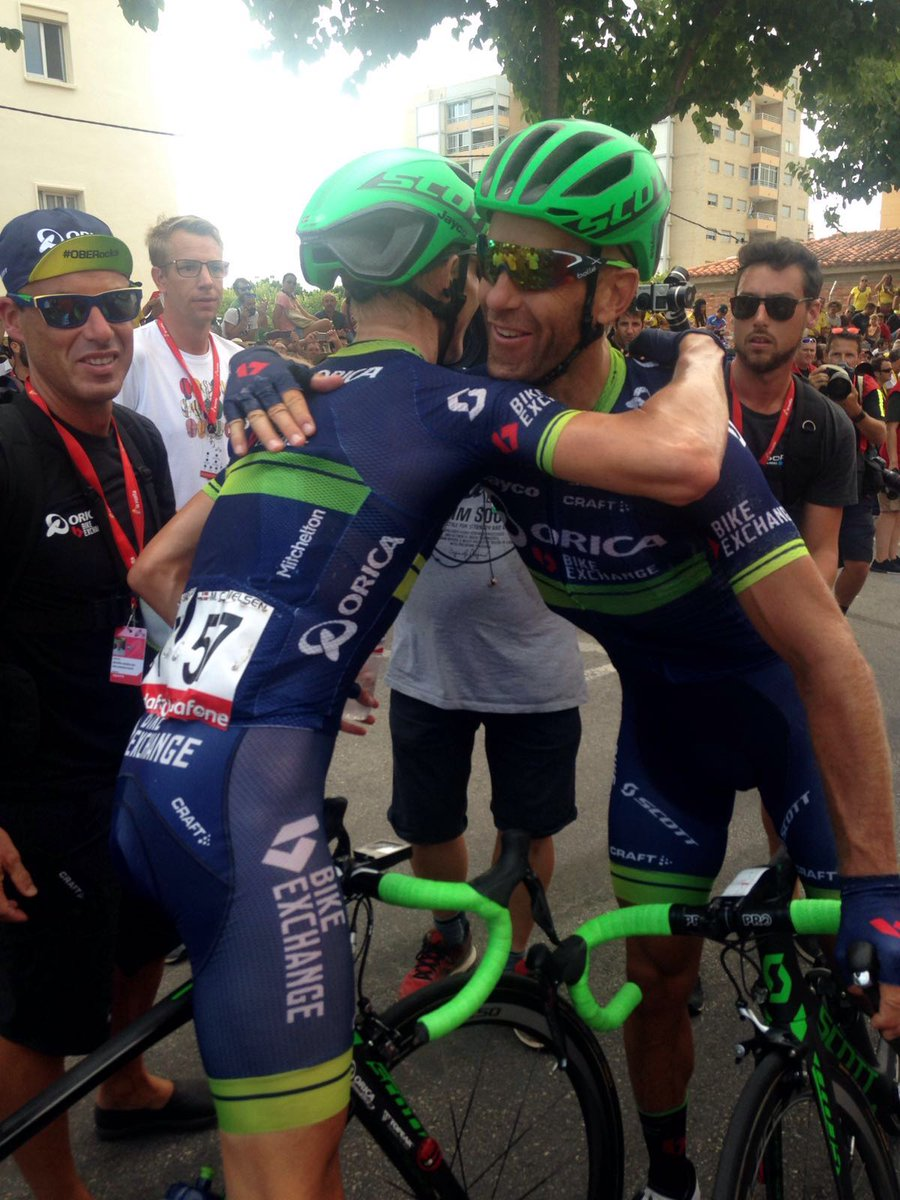 The Orica boys congratulate each other. Great team spirit with those guys