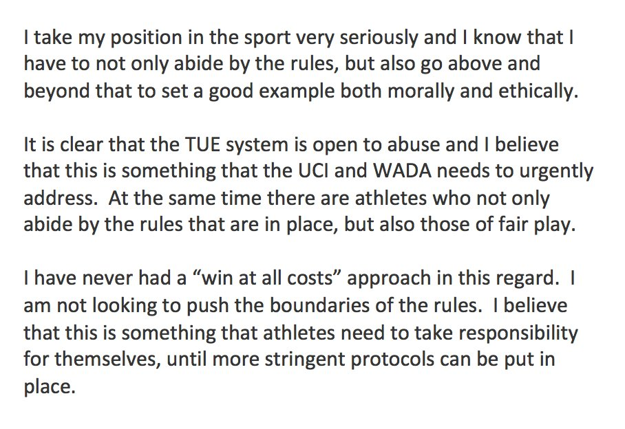Froome's statement on Twitter