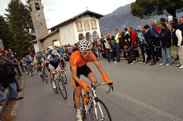 The peloton passes Madonna del Ghisallo