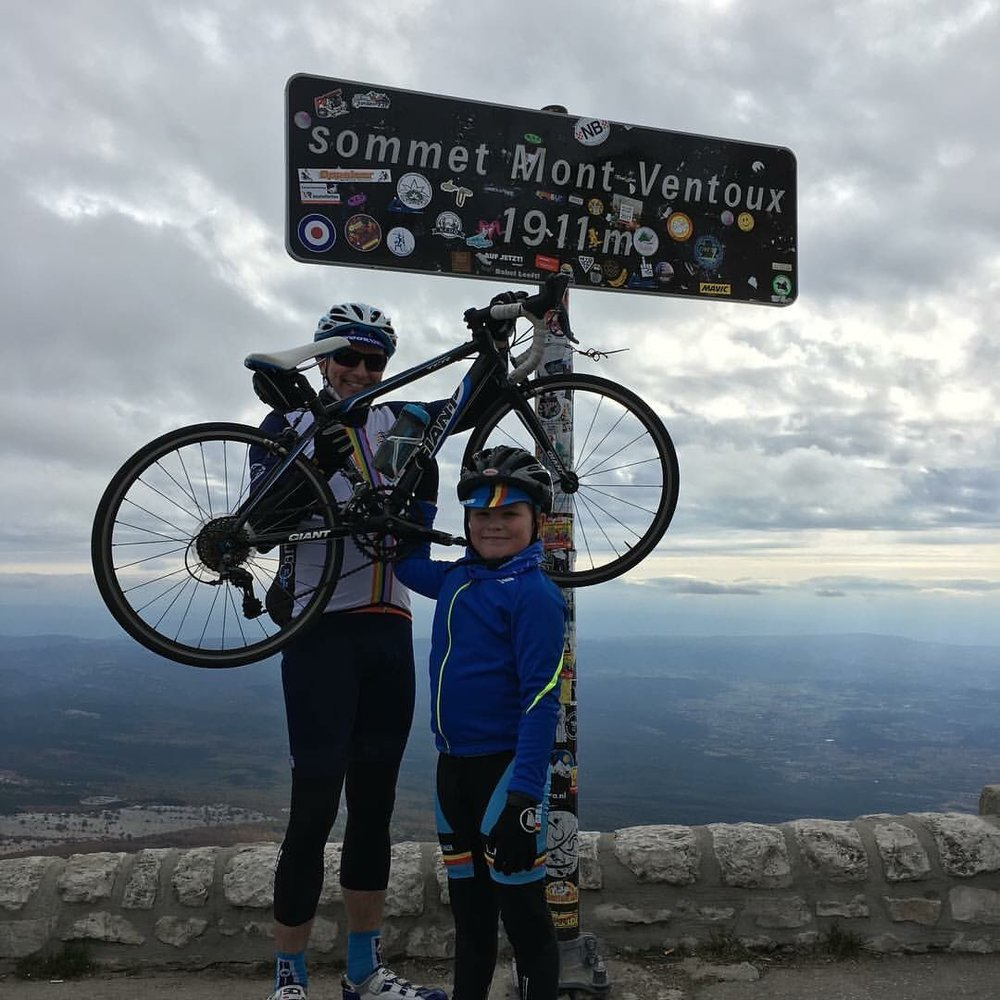 Alfie and Steve Earl at the Ventoux summit