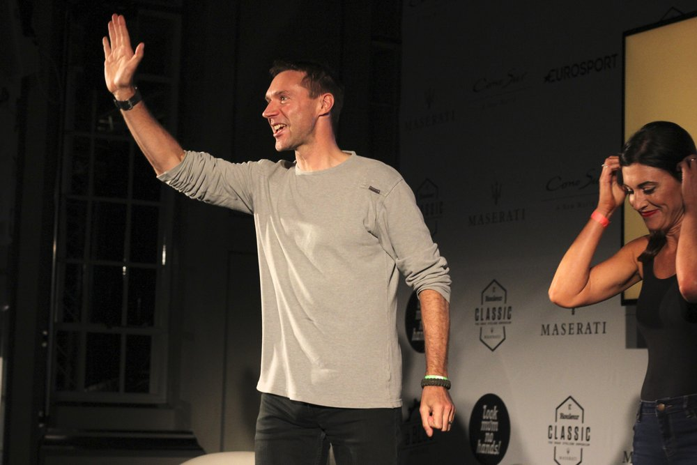 Jensie soaks up the applause from the Rouleur Classic audience