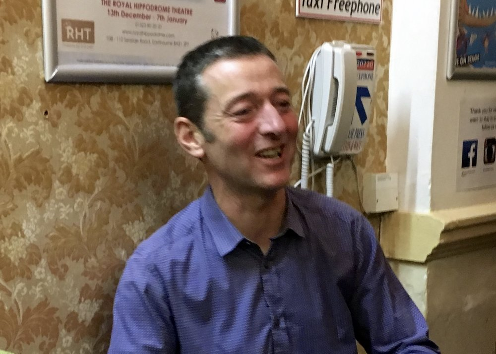 A relaxed Boulting signing copies of his new book Velosaurus after the show
