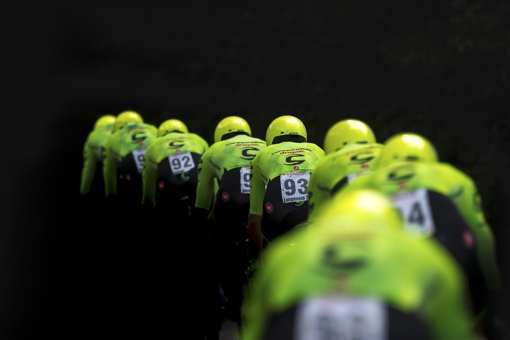 """Cannondale-Drapac Pro Cycling Team pictured during stage 5 in the Eneco Tour, a 20.9 kilometres team time trial."" Wouter Roosenboom"