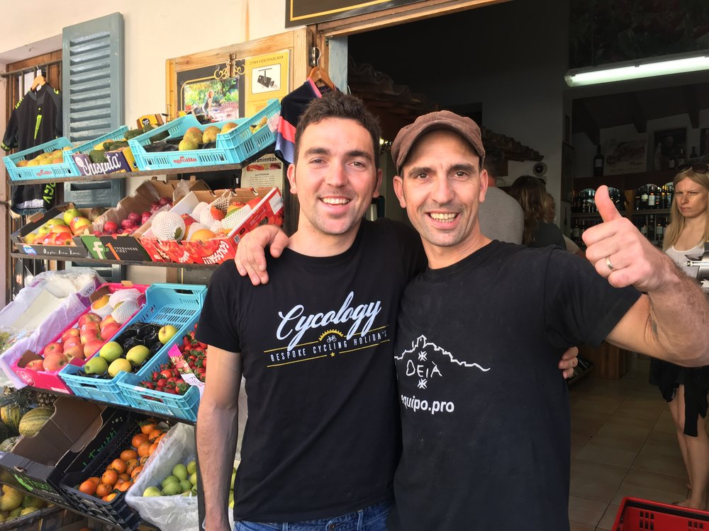 Marc and Vicente outside the bakery and shop in Deia