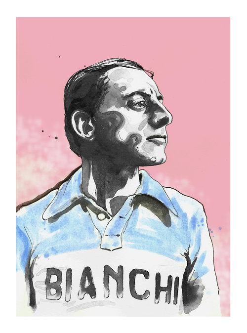 Portrait of Fausto Coppi print by Richard Long - available from the  Ride Velo shop