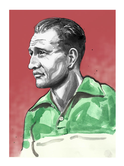 Portrait of Gino Bartali - print by Richard Long available from the Ride Velo shop