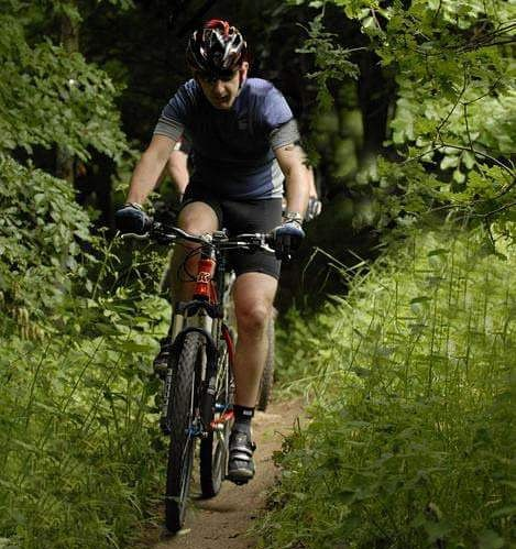 Richard tackles some trails on his mountain bike