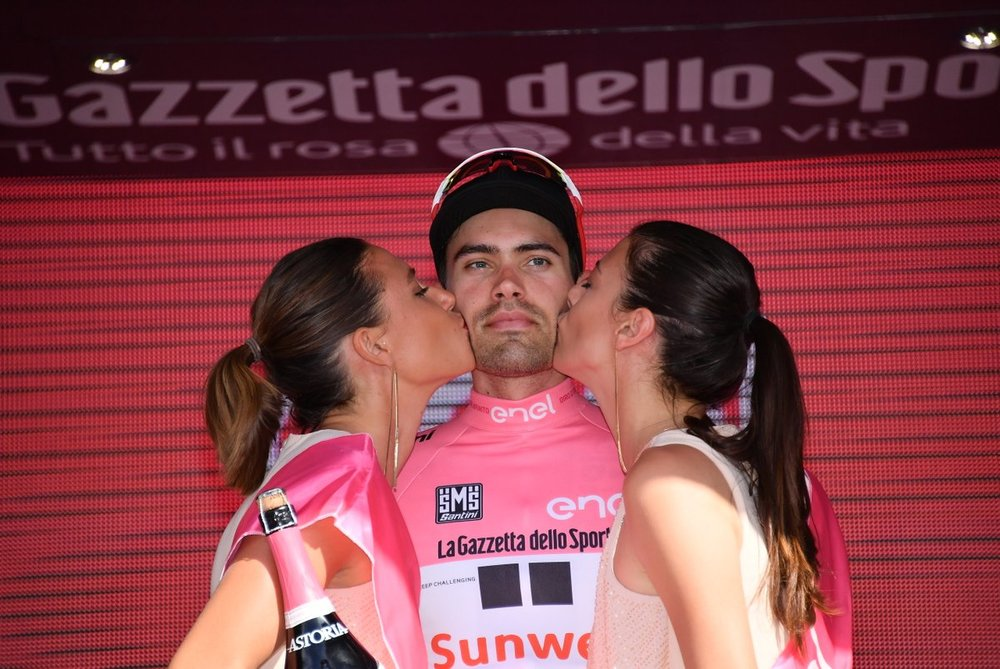 A stony faced Dumoulin just retained the Pink Jersey