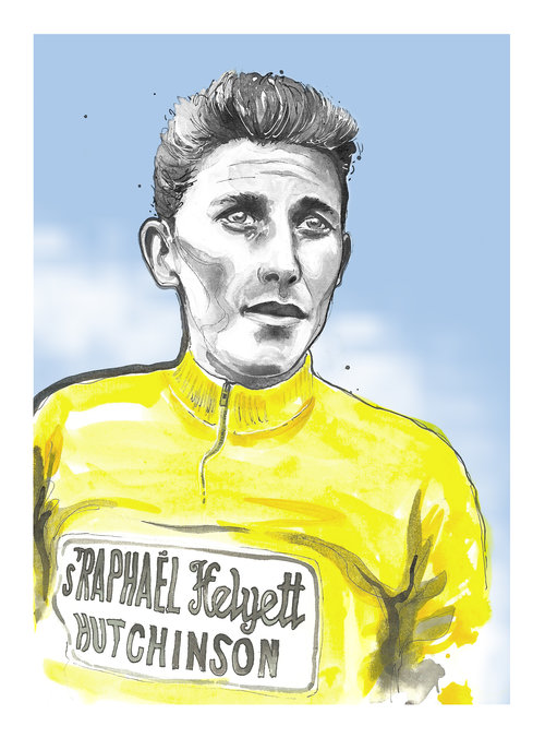 Richard Long's portrait of Anquetil available from the  Ride Velo Shop