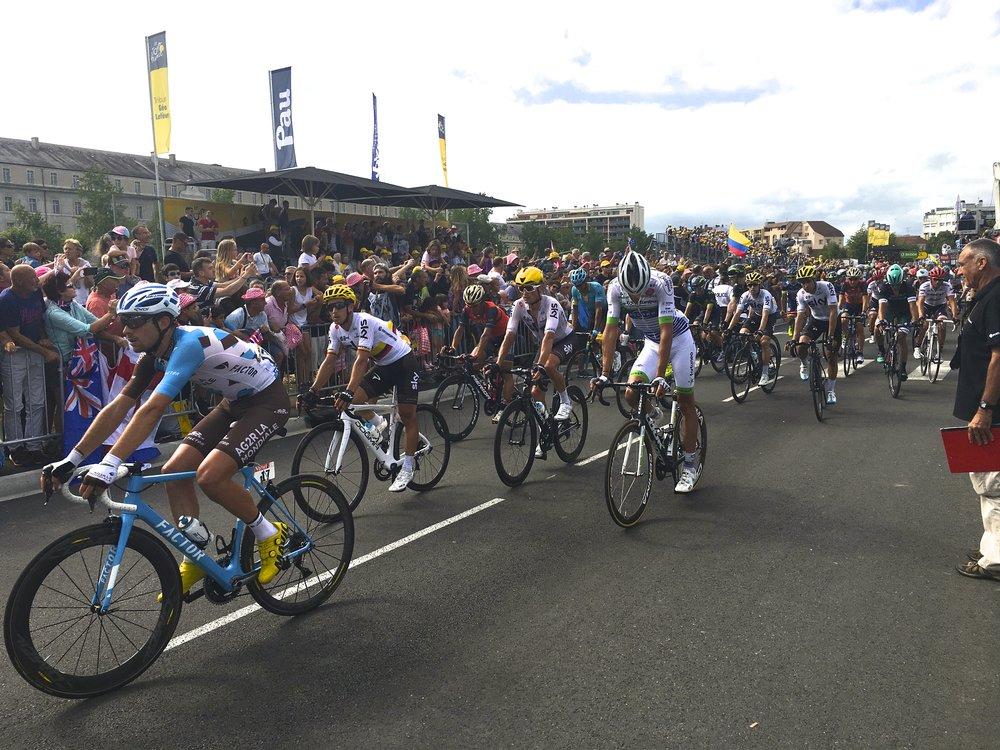 The peloton roll into Pau in 2017
