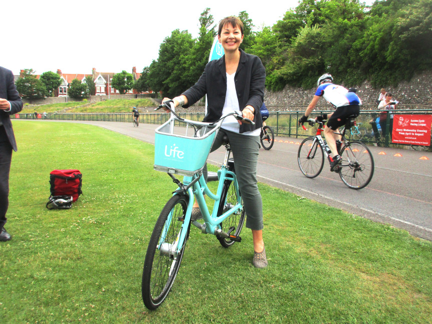 Caroline Lucas, Brighton's Green MP tries out a bike