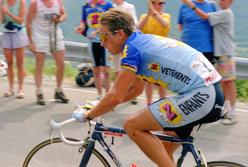 Greg LeMond in his Vetements Z-Peugeot kit on Alpe d'Huez