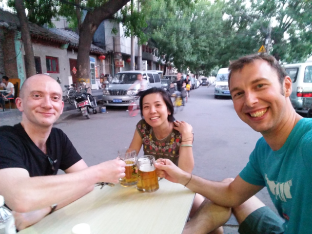 Pre-podcast beers with (from left to right) David Weller, Tracy Yu, Ross Thorburn