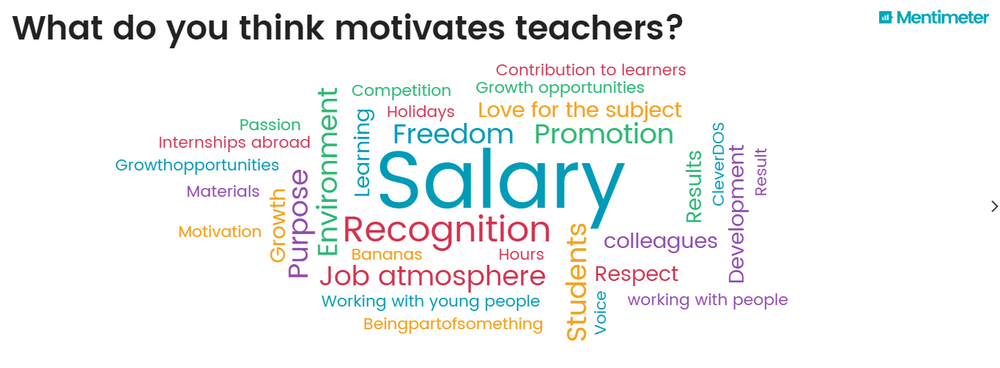 "Figure 1: Automatically generated word cloud showing participants' thoughts on ""What motivates teachers?"""