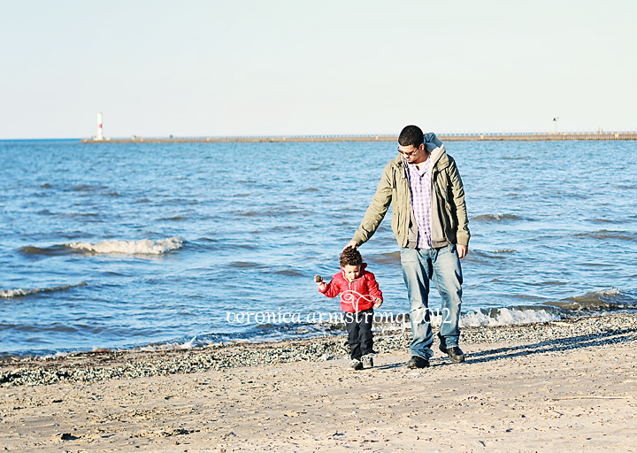 daddy and son at beach