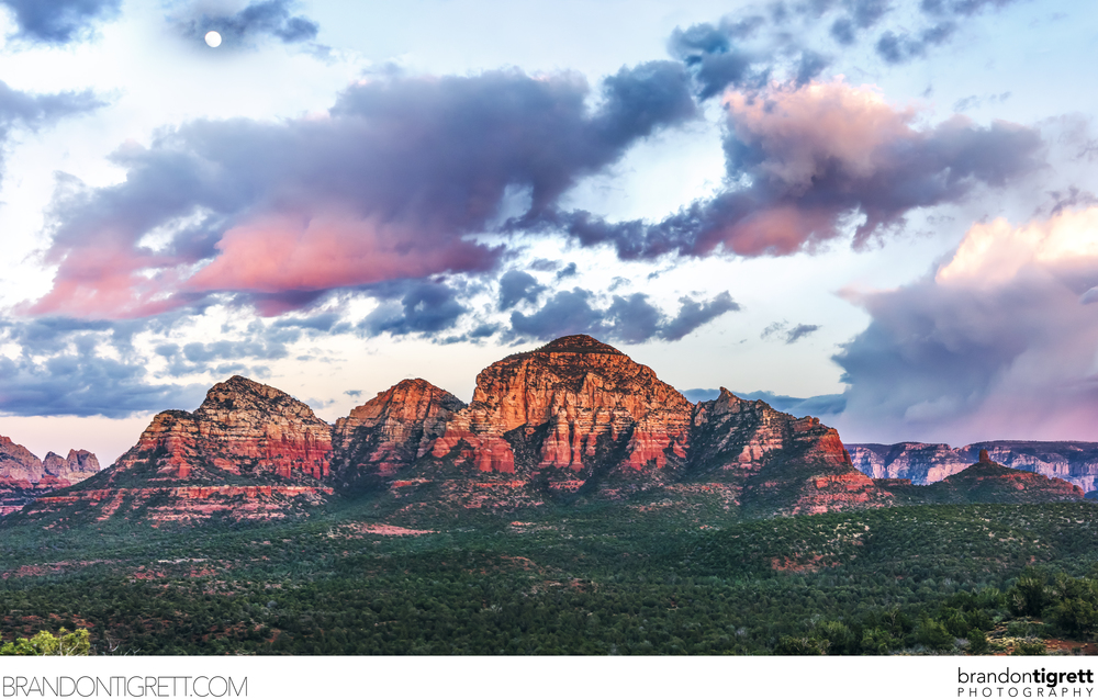 Sedona Red Rocks Sunset Landscape - Full Moon