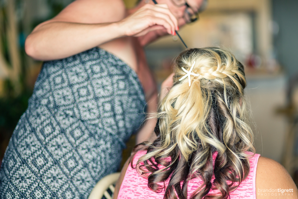 Beach Wedding Getting Ready Photos - Hair and Makeup