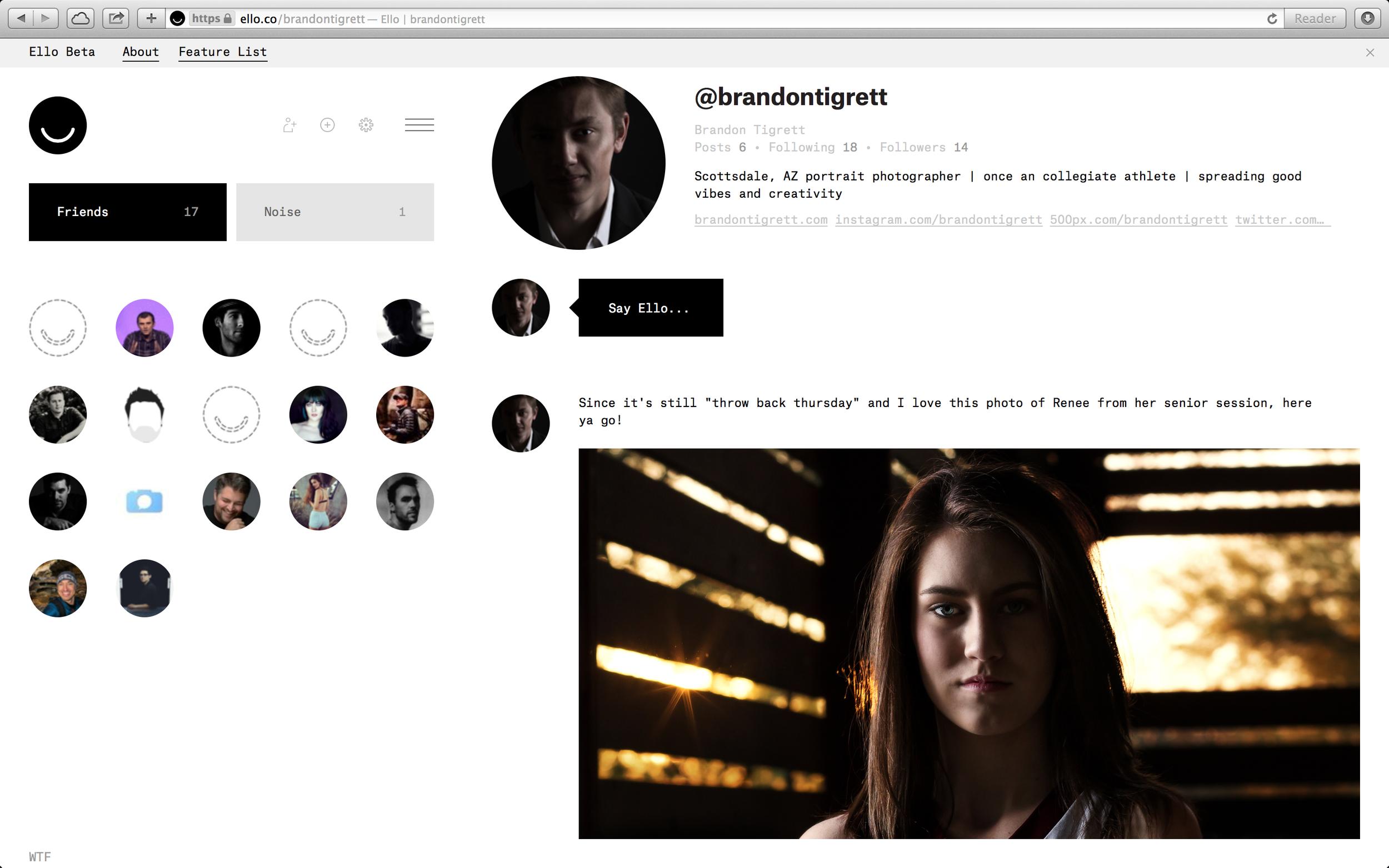 Ello Profile Page