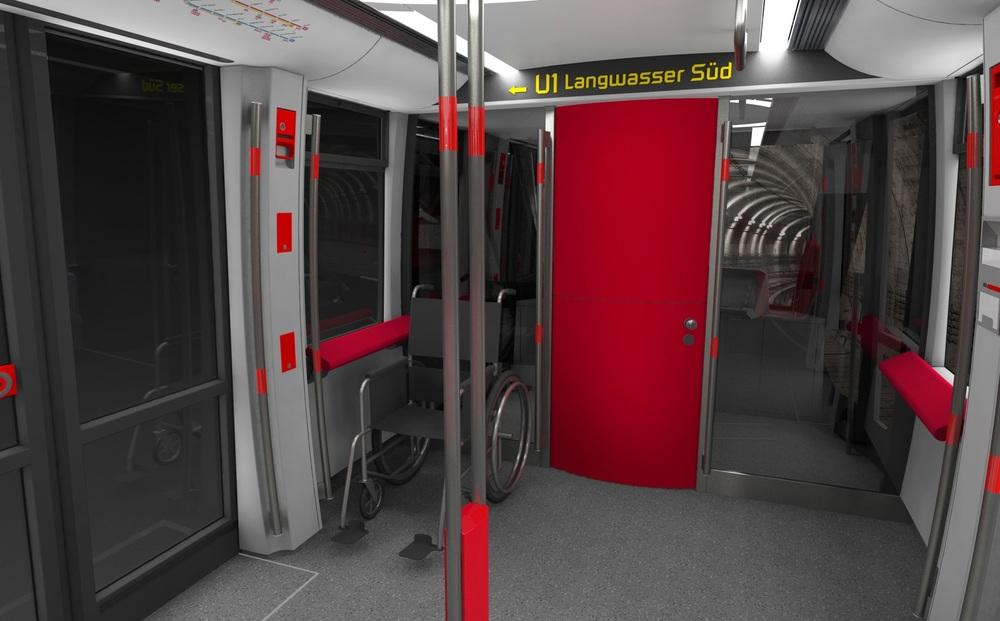 Linka U1 jako jediná dosud není v režimu provozu bez strojvůdce. Metro G1 proto bude vybaveno kabinami na obou koncích vlaku, která však bude demontovatelná. (zdroj: Siemens AG, ergon3design)