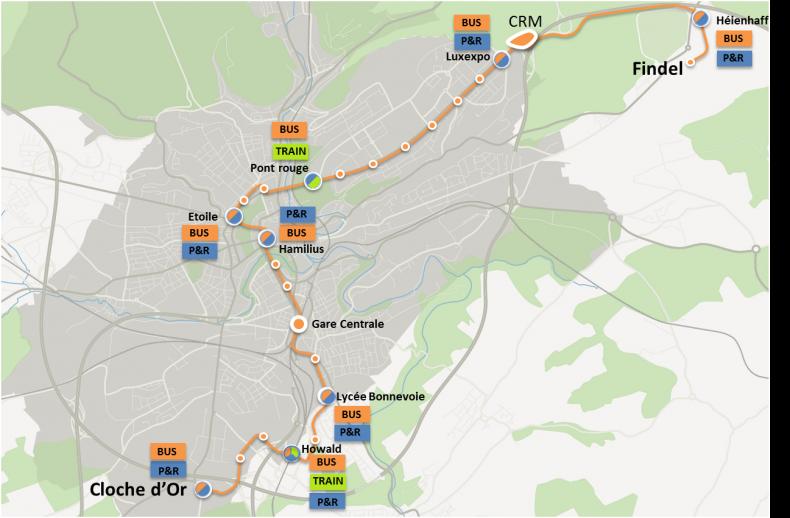 Plán budoucí tramvajové linky. zdroj: LUXTRAM)