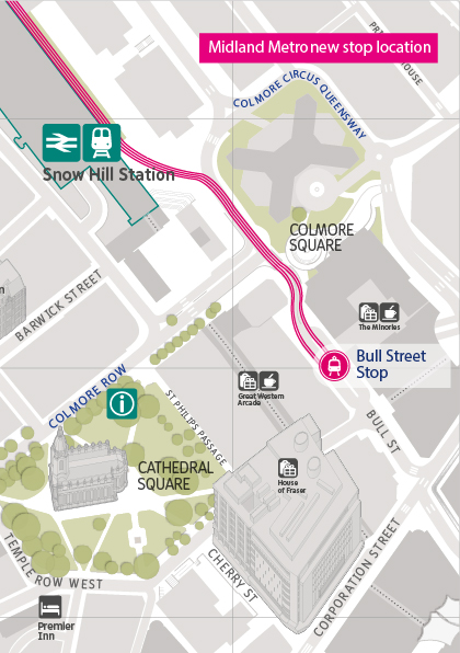 Úsek otevřený dne 6. 12. 2015 není nijak dlouhý. Končí již u zastávky Bull Street jen nedaleko od nádraží Snow Hill, kde byla linka ukončena doposud. (zdroj: Midland Metro)