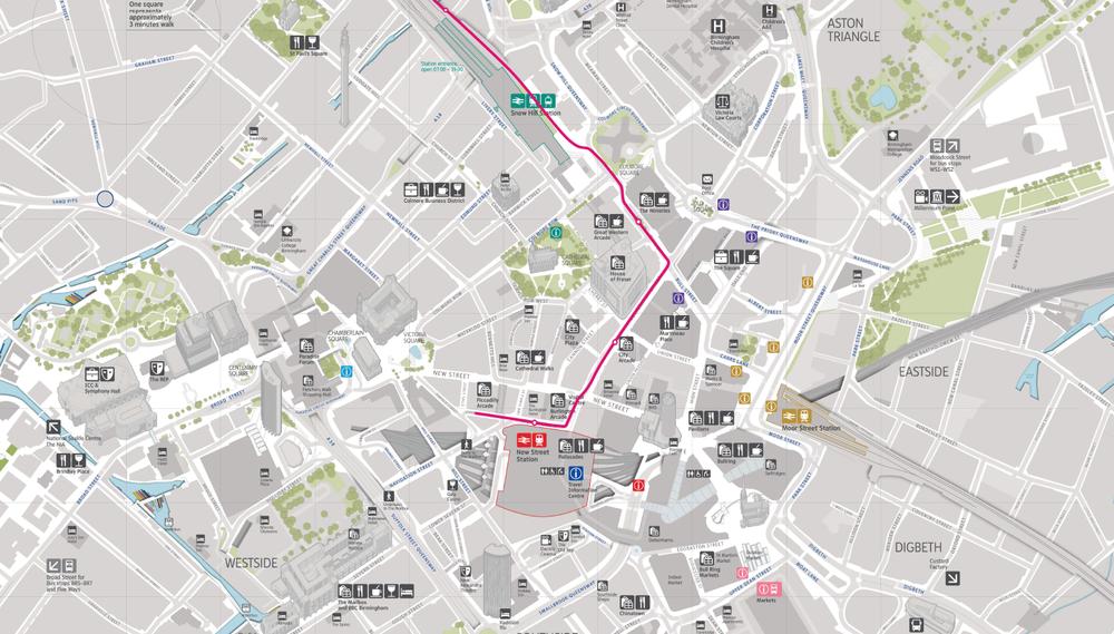 Celé prodloužení až k nádraží New Street Station by mělo být hotové do konce února 2016. (zdroj: Midland Metro)